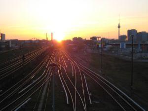 Berlin Warschauer Strasse Sonnenuntergang