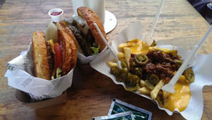 Burgermeister Burger with Chili cheese fries
